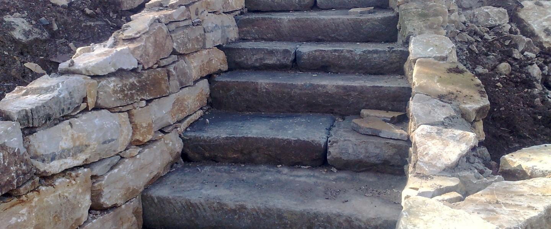 Scale Con Vecchie Pietre Di Pavimentazione Ciittadina
